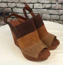 Lucky Brand multi brown womens platform wedge sandals Size 7.5M