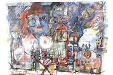 Abstrakte Unikat-Handgefertigt-Original Malerei mit Aquarell-Technik