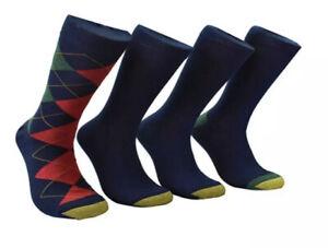 Gold Toe Men's 4 Pack Argyle Midweight Socks Black Size Regular