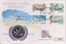 Liberia FAR rintracciare $1 MONETA Copertura NAZIONI Uniti per la pace 1995 B/UNC UN DOLLARO 3804
