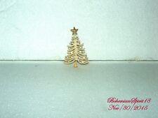 VINTAGE RETRO WHITE CHRISTMAS TREE RHINESTONE GOLD TONE BROOCH/PIN