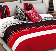 280TC Black Red White Silver Embroidery Pintuck * 3pc KING QUILT DOONA COVER SET