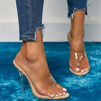 Europe Womens Clear High Heel Shoes PVC Thong Sandals Shoes Slippers Pointy Toes
