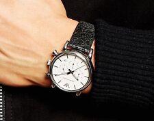 EMPORIO ARMANI AR1810 Classic Black Leather Silver Tone White Dial Men's Watch