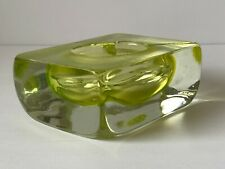 Mid Century Murano Art Glass Vaseline Ashtray