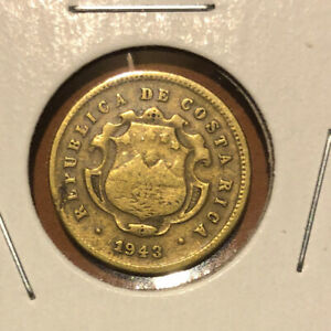 1943  Costa Rica 10 Centimos Collectible Brass Coin KM#180~Low Mintage-500K Only