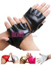 Faux Leather Fingerless Gloves for Women
