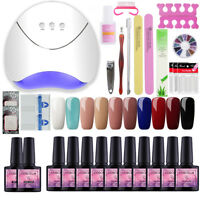 Pick 10 Colors Nail Art Gift Kit 36W UV LED Lamp Top Base Coat Nail Starter Kits