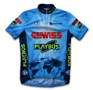 "RETRO 1996 GEWISS PLAYBUS BIANCHI TEAM CYCLING JERSEY (LABEL: 4) 40"" CHEST"