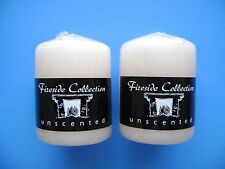 """** 2 PCs IVORY Pillar Unscented EASTER Color Candles 4"""". Made in USA"""