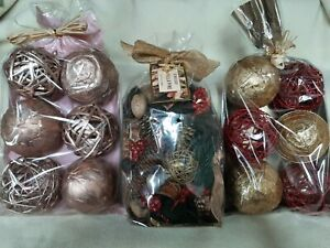 New Holiday Vase Bowl Filler Decorative Spheres Balls/GC Vanilla Pine Potpourri