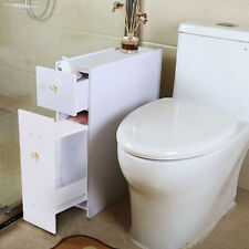 Slimline Organiser Bathroom Cupboard Cabinet White Wooden Toilet Roll Storage