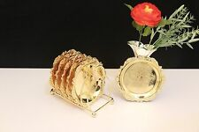 6pcs saucers with 1 shelf Gold Relief round dessert  plates coffee coaster