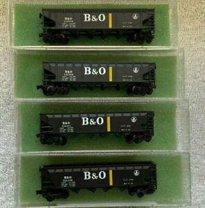 2 N Scale Con-Cor B&O 75 Ton 4 Bay Hoppers 001-017601 Baltimore & Ohio MTL Coup.