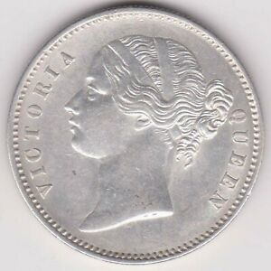 BRITISH INDIA-1840-DIVIDED LEGEND-ONE RUPEE-VICTORIA QUEEN-NR ABOUT UNC COIN-2
