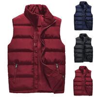 Mens Winter Warm Vest Sleeveless Puffer Outwear Zipper Padded Jacket Coat Gilet