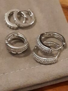BRANND NEW STAINLESS STEEL 3 SETS  SILVER TONE & CRYSTALS HUGGIE EARRINGS
