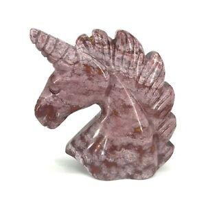 "2"" Natural Ocean Jasper Carving Unicorn Sculpture Figurine Mother Doughter Gifts"