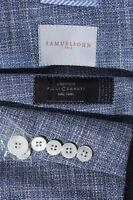 Samuelsohn Men's Blue Wool Silk Side Vent Sport Coat Jacket Blazer Size 44R
