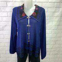 Skadi Women's Nordic Sweater Size XL Alpaca Cardigan Blue Embroidered A3