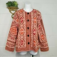 The Territory Ahead Boho Batik Fabric Reverse Applique Quilted Jacket Size XL