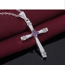925 Silber Schutzengel Halskette Anhänger Kreuz Halskette Zirkonia Kristall Neu