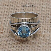 Blue Topaz Ring Solid 925 Sterling Silver Boho Ring, Women Ring,Blue Jewelry