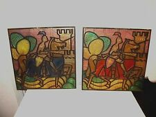 Pair Mid century Burwood Wall Art Knight On Horse Yellow Green Red Blue