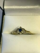 9ct Gold  Sapphire & CZ  dress Ring Size P 1/2