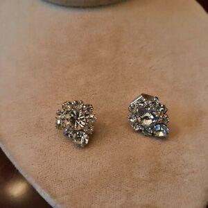 Silver Tone Clear Rhinestone Shoe Clips