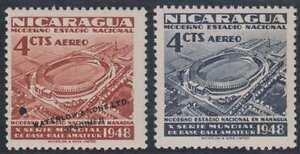"NICARAGUA 1949 BASEBALL STADIUM Sc C299 REGULAR & PERF PROOF ""SPECIMEN"" MNH"