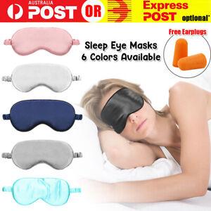 Eye Sleeping Mask Silk Blindfolds Shade Sleep Eyepatch Pad Relax + FREE EARPLUGS