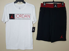 NIKE JORDAN XII 12 OUTFIT SHIRT + SHORTS WHITE BLACK RED RARE NEW (SIZE SMALL)