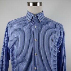 Polo Ralph Lauren Mens Classic Fit LS Button Down Blue Striped Shirt 16 32/33