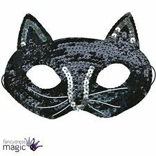 *Black Cat Sequin Eye Mask Girls Ladies Halloween Fancy Dress Costume Accessory*