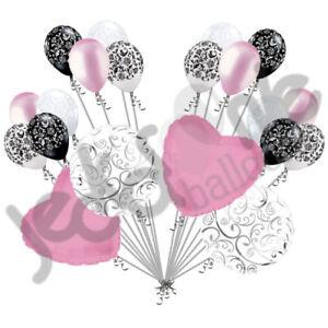 20 pc Pink Heart & Swirl Balloon Bouquet Wedding Bridal Shower Anniversary Baby