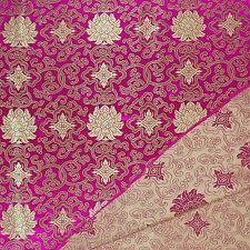 0.5yard faux silk Brocade satin fabric(raspberry rose w pale gold wealthy)2001