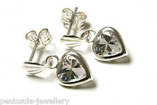 Sterling Silver CZ Heart Drop Earrings Gift Boxed