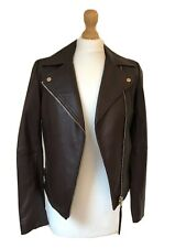 Brand New Massimo Dutti Dark Maroon Leather Biker Jacket XS 8 10 RP £269