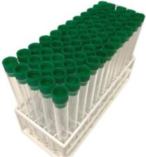 150 x 17mm Plastic test tube, 20 ml volume with Dark Green tops and tray,