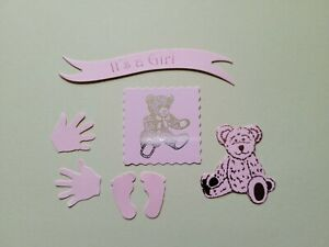 New baby Girl Die cut pack card topper embellishments