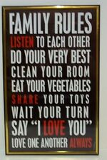 FAMILY RULES   Inspirational Wall Picture, Wall Plaque (NEW)