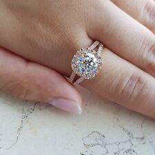 3.20 ct CUSHION HALO ROUND diamond engagement Ring 14k ROSE GOLD H VS1