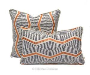 Jane Churchill Zhiri Designer Blue Orange Zig Zag Fabric Sofa Cushion Cover
