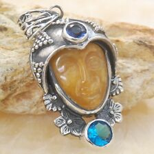 hand inlaid carved face Aventurine & topaz gemstone silver pendant Jewelry BP91