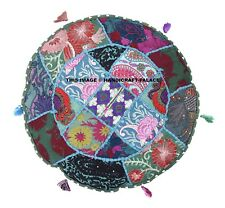 "16"" Round Cushion Pillow Cover Patchwork Sofa Floor Throw Indian Ethnic Decor"