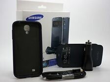 Samsung Galaxy S4 S-VIEW CASE + SNAP ON CASE + CAR CHARGER CABLE BUNDLE - Blue