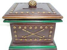 Vtg Golf Ball Club Box Jewelry Watch Key Trinket Holder Trunk Mens Vanity Cache