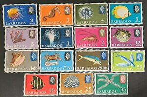 STAMPS BARBADOS 1966 MARINE LIFE NEW WMK & VALUE MINT LH - #1000