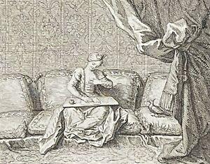 Les deux pigeons Charles-Antoine COYPEL 1694-1752 graveur Tardieu 1719  France